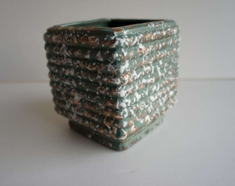 Vintage Pottery Planter Green Gold Drip Splatter
