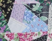 Crazy Quilt Square, Fabric Art, Floral Quilt Square, Mixed Media Supply, Sewn Quilt Square, Kathleen Leasure, From Glen To Glen
