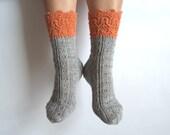 Luxurious hand knit wool socks. Orange. Grey. Gray. Gift for her. Autumn winter accessories. Gift for her. Bed socks. Boudoir. House socks