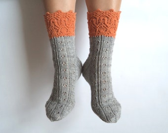 Luxurious hand knit wool socks. Orange. Grey. Gray. Gift for her. Autumn winter accessories. Gift for her. Bed socks. Boudoir. House socks