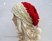 Custom For Emily Santa Hat Adult Unisex Cable Knit Oversized Beret Baggy Neck Warmer Slouchy Christmas Santa Hat Unisex beanie