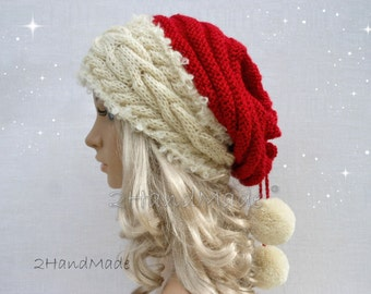 Santa Hat Adult Unisex Cable Knit Oversized Beret Baggy Neck Warmer Slouchy Christmas Santa Hat Unisex beanie Chunky Tube Scarf Pom Poms