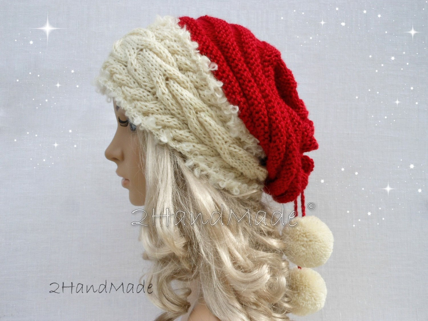 Santa hat adult unisex cable knit oversized beret baggy neck zoom bankloansurffo Images