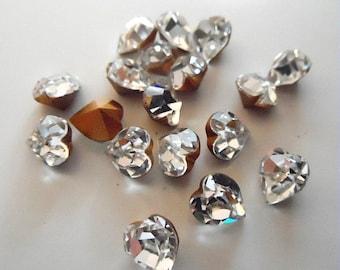 6x6.6mm Crystal Swarovski Heart Shaped Rhinestones-loose Swarovski Rhinestones-loose Swarovski Crystals