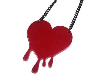 Bleeding Heart Necklace, Red Dripping Laser Cut Heart
