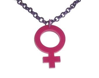 Venus Sign Necklace, Hot Pink Female Gender Symbol, Riot Girl, Feminism