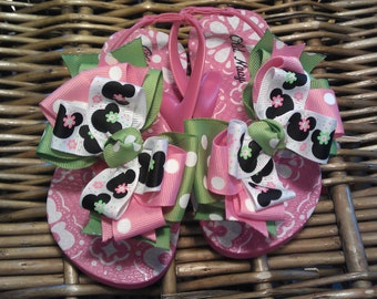 Mickey and Minnie Pink & Apple Green with Polka Dots Toddler Flip Flops