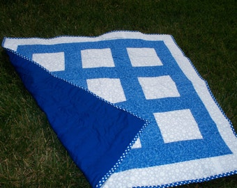 """33"""" x 33"""" Baby Quilt in Blue and White.  Circles and Squares.  Circle Prints in the fabric.  Gender Neutral.  Great for Twins."""