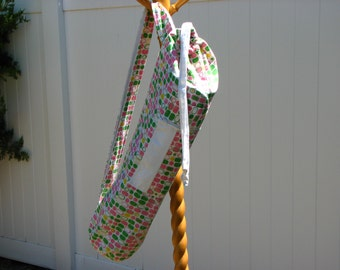 Yoga Bag - Modern Squares in Pink, Green and Yellow on White with 2 straps and zipper pocket