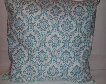 "16"" x 16"" Teal and and Off White Print Decorative Pillow Cover with Off White Back"