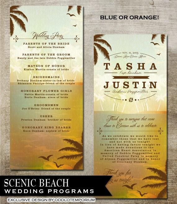 Tropical Beach Wedding Programs Destination Wedding Programs Any color available DIY Beach wedding programs Wedding Printable