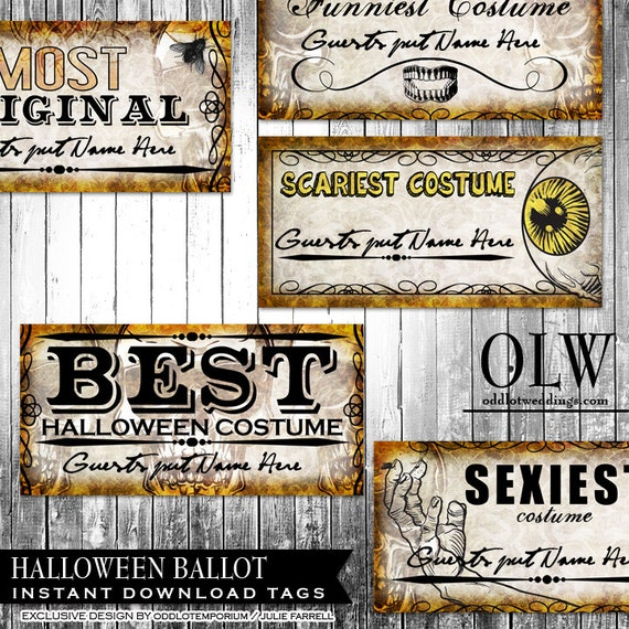 Halloween Entry Ballots for your Halloween Costume Contest