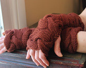 Knit Fingerless Gloves/Arm Warmers/Gauntlets, Chunky Cabled in Reddish Brown