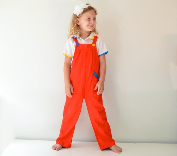 Vintage 1970s primary colors girl's overall outfit