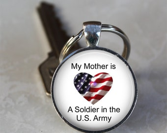 My Mother is a Soldier in the U.S. Army Patriotic Photo Keychain  (GDKC0275)