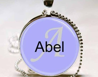 Abel Name Glass Dome Monogram Handcrafted  Necklace Pendant (NPD0005)