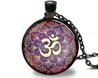 Om Pendant , Lotus Flower Necklace , Namaste Yoga Jewelry , Black (PD0535)