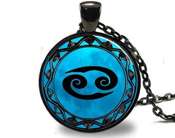 Cancer Zodiac Pendant, Cancer Zodiac Necklace, Cancer Zodiac Jewelry, Black (PD0461)