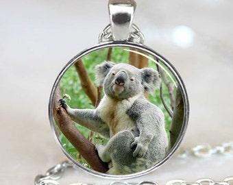 Koala Pendant, Koala Necklace, Koala Jewelry, Koala Charm, Silver (PD0230)