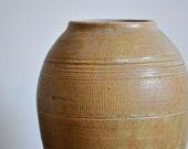 Mid-Century Studio Pottery Ceramic Flower Vase - Blonde Tan Textured Vase