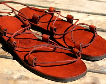Jesus Leather Sandals Mahogany