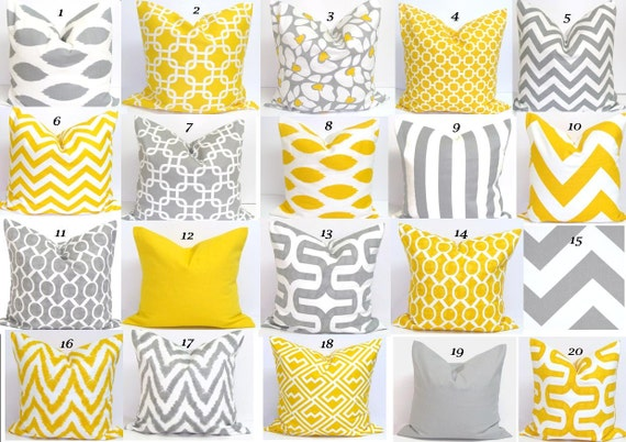 GRAY.YELLOW PILLOWS.22x22 inch.Pillow Cover.Decorative Pillow Sham Cover.Gray Yellow Pillow Cover.Cushion Covers.Grey.Cushions.Cm.Large Gray