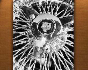 Jaguar Car, Wire Wheel Picture, Automobile Art, Black and White, Boyfriend Gift, Jaguar Picture, Automotive Art, 5x7, 8x10, 11x14, 16x20