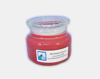 cinnamon stick scented soy candle 12 oz apothecary jar red