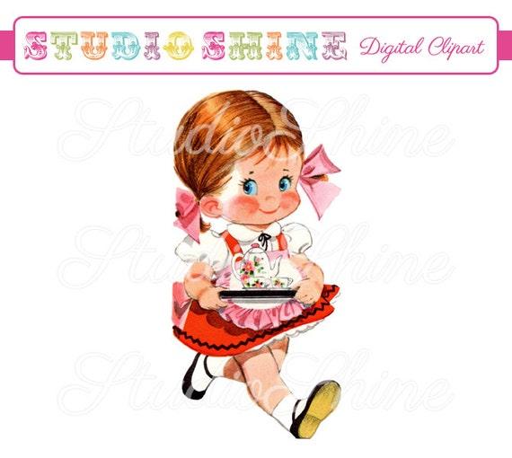 Vintage Digital Clipart Girl Carrying Tea Cute Little Girl