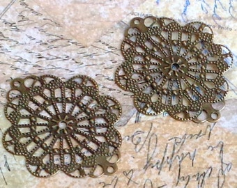 SALE - 20pc- Antique bronze - Oval Filigree ,lace , drop, connector, pendant, link and more...