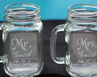 2 Custom Engraved Mr. and Mrs. Mason Jars with handle, Bride and Groom