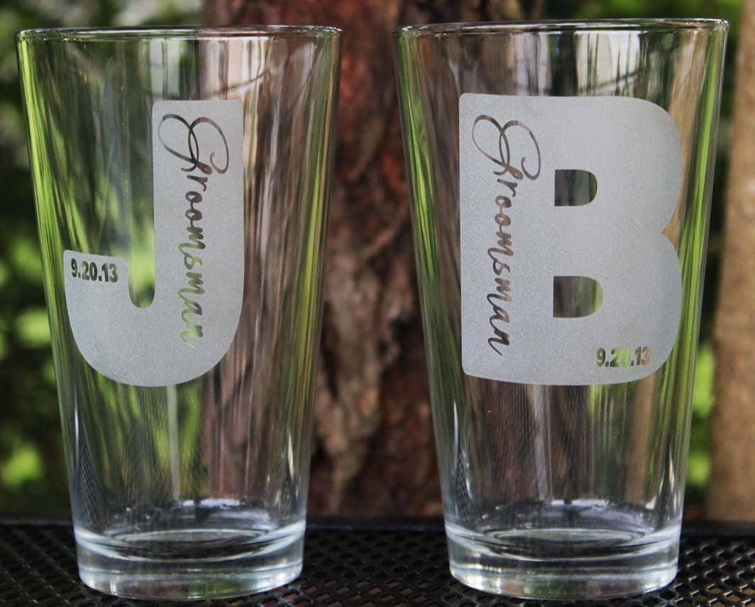 Personalized Groomsmen Custom Engraved Beer Pint Glasses Gift