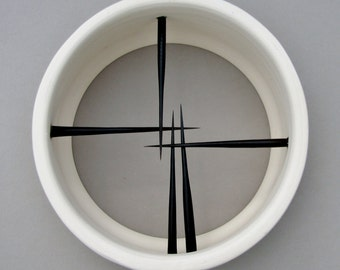"""Careful, That's Sharp! """"Artifact Collection"""" Modern, Minimalist, Zen Ceramic and African Porcupine Quill Sculpture in Black and White"""