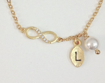 Infinity bracelet, initial bracelet - gold and white gold ( Choose your color ), simple and delicate jewerly,friendship,Bridesmaid gifts