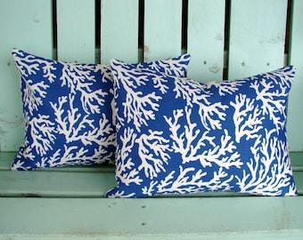 "Set of 2 lumbar 12"" X 16"" blue,natural coral reef print Mill Creek outdoor indoor fabric- decorative pillow cover-throw pillow-accent pillow"