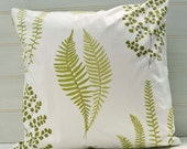 18ins Throw Pillow Cushion Cover in Green and White Floral Designer Fabric