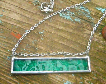 Stained glass bar necklace bright seafoam teal green silver