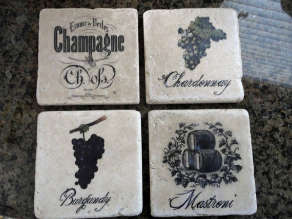 Tumbled Marble Coasters Vintage Wine Graphics Or Any Graphic