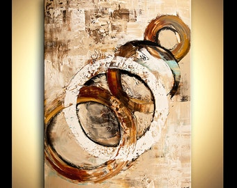 Large Abstract PRINT on Canvas Print Ready To Hang & embellished (brush strokes are added by the artist) Osnat