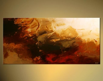 "Large Contemporary Red Abstract Painting will be Ready to Hang by Osnat - MADE-TO-ORDER - 48""x24"""