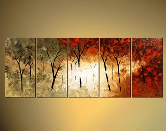 "Forest Blooming Trees Landscape Painting Original Abstract Modern Palette Knife by Osnat - MADE-TO-ORDER - 60""x24"""