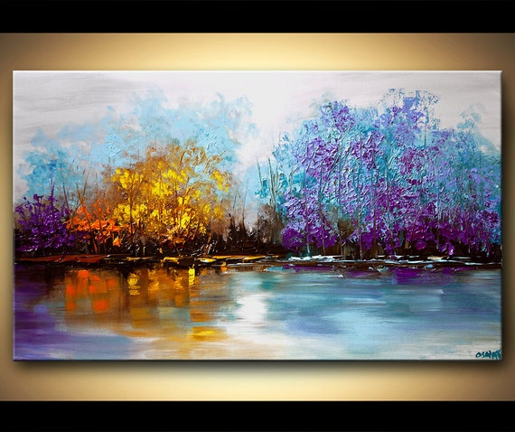 Modern Wall Art By Osnat Fine Art: Landscape Tree Painting Original Abstract Contemporary Modern