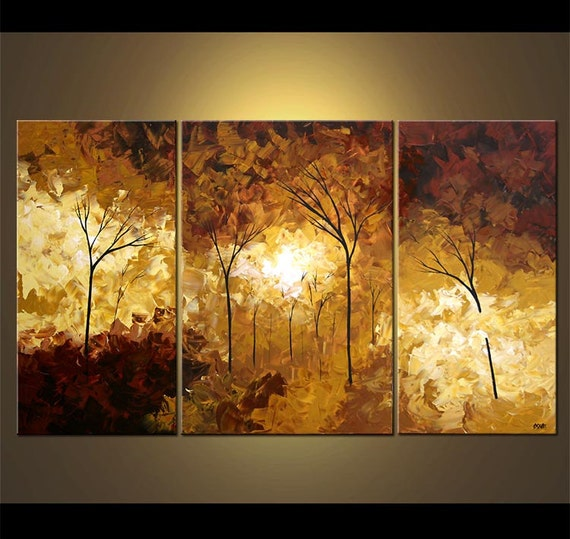 Forest Landscape Painting Modern Palette Knife Blooming Trees