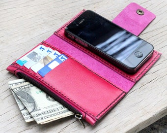 iPhone4/ Pink leather iPhone wallet with case and mini zip