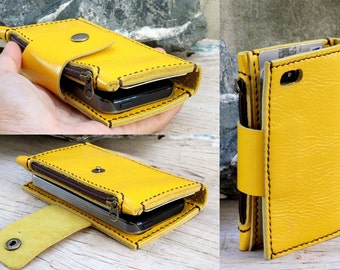 iPhone5/ Yellow leather iPhone wallet with case and mini zip