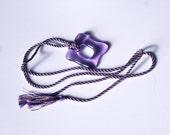 Long Purple and Pink Silk Kumihimo Tassled Necklace Purple Square Donut Pendant