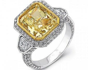 Fancy Yellow Cushion Cut Diamond Engagement Ring 3.14 Carat 18K White Gold