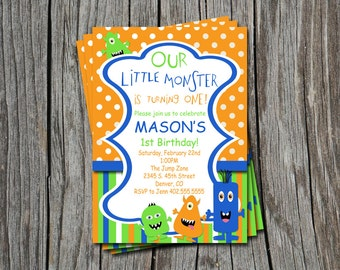 Custom Photo Little Monster 1st 2nd 3rd  Birthday Party Invitation Card   - Any Color