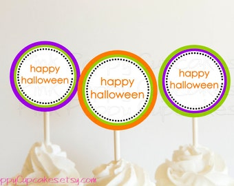 DIY Printable Happy Halloween Cupcake Toppers / Party Circles
