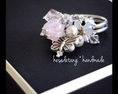 the pink butterfly . OOAK adjustable ring